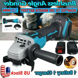 18V Cordless Brushless Angle Grinder Cut off Tool 4inch + Ba