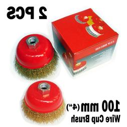 """2pc 3/"""" x 5//8/"""" Arbor FINE Crimped Wire Cup Wheel Brush For Angle Grinders"""