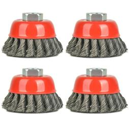 4 pcs 3 Inch Knotted Wire Cup Brush Twisted Wire Brush For G