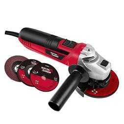 4-1/2-Inch Angle Grinder 6.0-Amp with 3 Abrasive Wheels  and