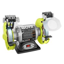 Bench Grinder 6 Inch Ryobi Power Tool 2.1 Amp 6 in. + LED Li