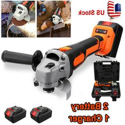 Cordless Brushless Electric Angle Grinder Cutting + 2 Batter