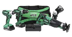 Hitachi 18V Cordless Lithium-Ion 4-Piece Combo Kit  KC18DG4L