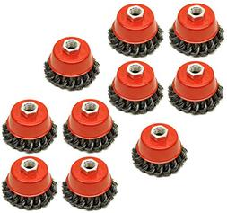 """Twist Knot Wire Wheel Cup Brush 3"""" for 4-1/2"""" Angle Grinder"""